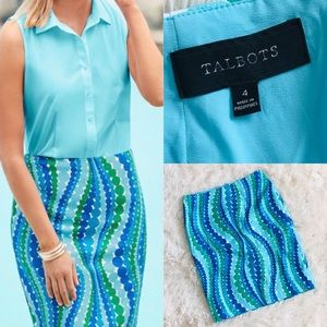 🌸NWT Talbots mod wavy dot print pencil skirt🌸